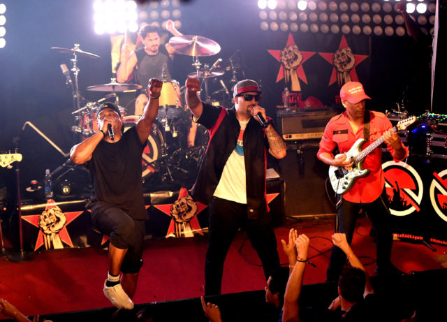 WEST HOLLYWOOD, CA - MAY 31:  (L-R) Musicians Chuck D, Brad Wilk, B-Real and Tom Morello of Prophets of Rage perform onstage at Whisky a Go Go on May 31, 2016 in West Hollywood, California.  (Photo by Kevin Winter/Getty Images)